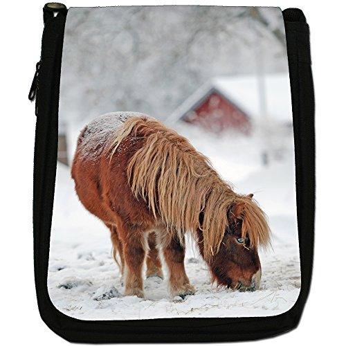 Pony e pony Medium Nero Borsa In Tela, taglia M Brown Pony In White Snow