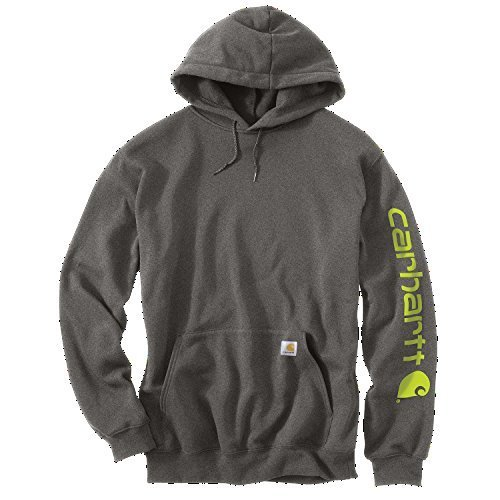 Carhartt Midweight Signature Sleeve Logo Hooded Sweatshirt - Kapuzenpullover K288 (M, Charcoal Heather) (Hoodie Pullover Abdeckung)