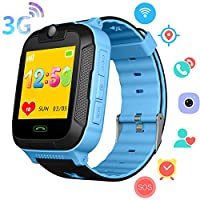 3G Kids Smart Watch Phone - GPS/Wi-Fi/LBS Locator Pedometer Fitness Tracker Boys Girls Smartwatch with 2 Way Calls Camera SOS Voice Chat Game Alarm Clock Wrist Watch Gift for Birthday Holiday (Blue)