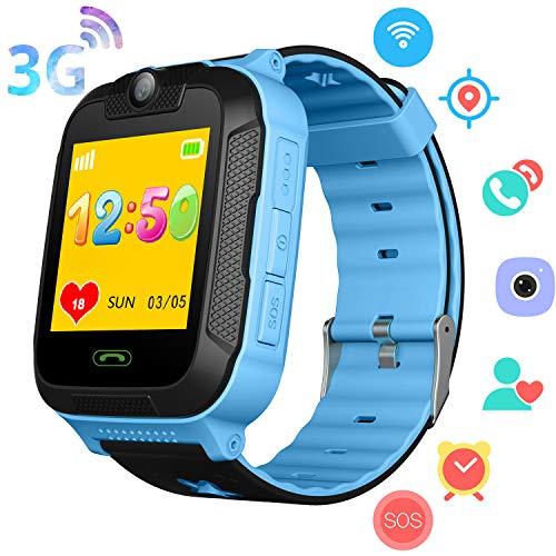 3G Reloj GPS Niños - GPS/Wi-Fi/LBS Localizador Podómetro Rastreador de Ejercicios Niños Niñas Reloj Inteligente con 2 Llamadas Camara SOS Juego de Chat por Voz Compatibles iOS/Android (Azul)