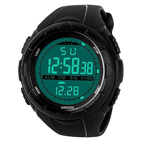 Reloj pulsera masculino deportivo digital para correr - estilo militar y casual para exterior, con iluminación led, resistente al agua, electrónico, estilo casual, LED, resistente al agua, electrónico, con alarma multifuncional y cronómetro - color negro