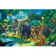 Animali della giungla FOTOMURALE – safari quadro da parete - XXL giungla decorazione da parete – tappezzeria da parete cameretta dei bambini by GREAT ART (210 x 140 cm)