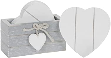Set of 6 WOODEN HEART DRINK COASTERS with Provence Grey Storage Stand