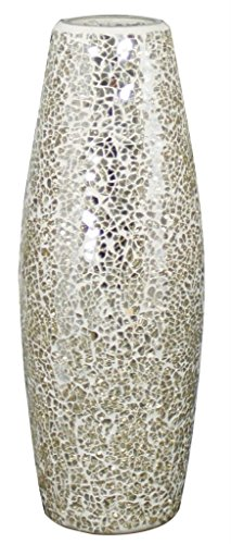 Stylish Modern Mercury Cream Sparkle Mosaic Vase Decorative Ornament