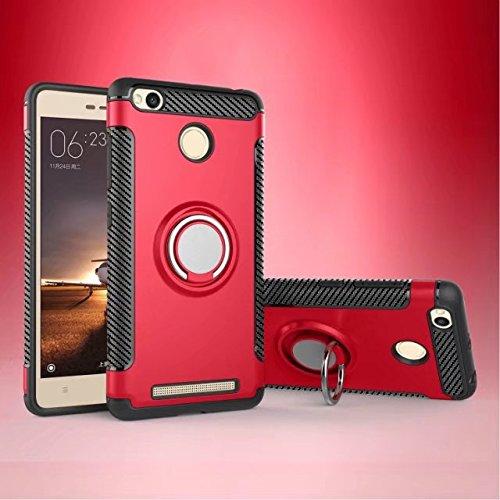 Happy-L Coque pour Xiaomi Redmi 3S / 3 Prime, étui de Protection Robuste 2 en 1 Armor avec Porte-Bague Rotatif à 360 degrés et étui de Fixation magnétique pour Voiture (Couleur : Rouge)