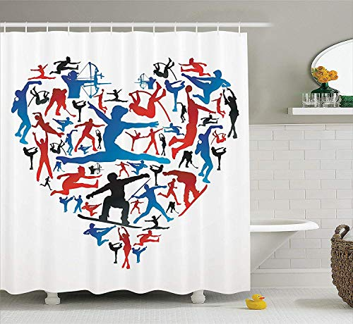 Olympics Decorations Collection, Action Sports Silhouettes in Heart Love Shape and Archery Handball High Jump Image, Polyester Fabric Bathroom Shower Curtain, 60 x 72 Inches, Red Blue
