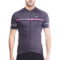 SANTIC Maillot Ciclismo Hombre, Maillot Bicicleta Hombre, Camiseta Ciclismo con Mangas Cortas Gris EU Talla XXL