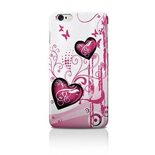 Cell Shell ® iPhone 6 (4.7) Case / Cover / Custodia / Skin Rigida in Plastica / Snap On - Disegno bianca con Porpora Cuores