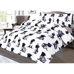 Juego de funda nórdica y funda de almohada (algodón natural, 120 x 150 cm), diseño de pugs