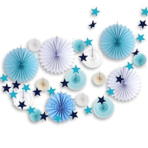 Chambre Decoration Garcon Lot de Rosace Papier Bleu et Etoile Guirlande pour Salon Deco