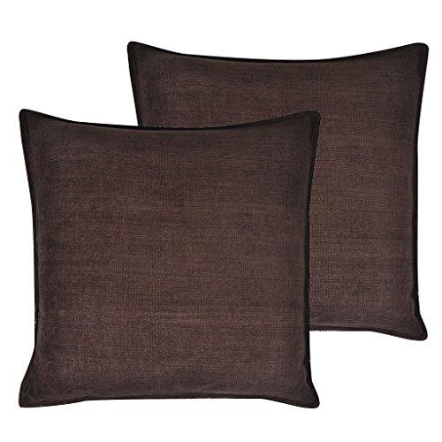 Cartoonpur 2 Piece Cotton Cushion Covers - 22 Inch x 22 Inch, Velvet Dark Brown(coffee brown)