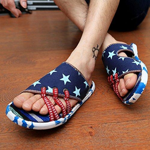 Vogstyle Herren Sommer Clogs und Pantoletten Schuhe Beach & Pool Mules Mode Schuhe Canvas Flach Sandalen Blau