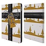 Head Case Designs Weiss und Gold Weihnachtsgeschenke Brieftasche Handyhülle aus Leder für iPad Air 2 (2014)