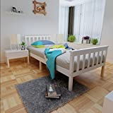 White Single 3ft Wooden Bed Frame Solid Wood Bedroom Bedstead Base With 2 Headboard for Adult Kids Children