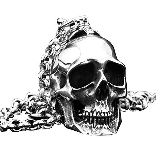 (PAURO Herren Große Schwere Gothic Biker Schädel Anhänger Halskette Punk Rock Edelstahl Silber Schwarz Vintage)