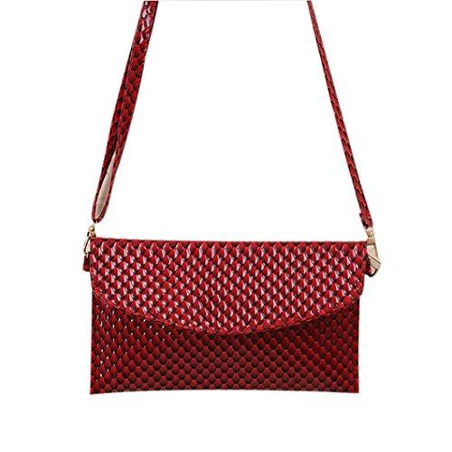 Ularma Damen Umhängetasche PU Leder Handtasche Abziehbar Handbag Magnet Knopf Rot