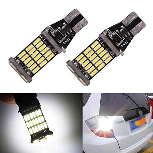 Taben Lot de 2 1000 lumens extrêmement lumineux CANBUS sans erreur 921 912 T10 T15 W16 W Ak-4014 45 pcs Chipsets ampoules LED pour lampes de sauvegarde inverse, Xenon Blanc 6000 K