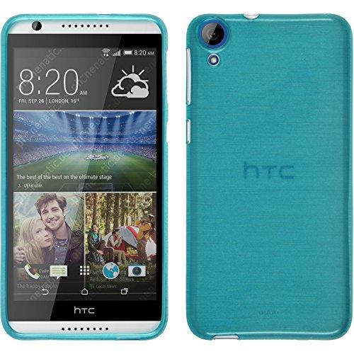 PhoneNatic Case für HTC Desire 820 Hülle Silikon blau, brushed + 2 Schutzfolien