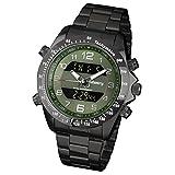 Infantry Herren Analog-Digital Uhr Dual Alarm Datum Chronograph Schwarz Fliegeruhren Edelstahl Grün Zifferblatt