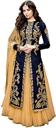 Caffoy Cloth Company Women\'s Bangalori Silk Anarkali Gown (CFGW_GLZR-1506, Blue, Free Size)