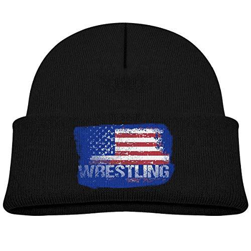 Baby Jungen Kinder Mädchen Wintermütze Wrestling American Flag Strickmütze Warm Kleinkind Cap Schwarz