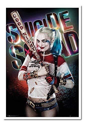 (Suicide Squad Harley Quinn Good Night Poster Kork Pinnwand Memoboard weiß gerahmt, 96,5x 66cm (ca. 96,5x 66cm))