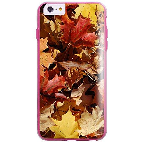 iPhone 6 6s Case, True Color® Real HD Herbst Ahorn-Blätter Camo Schmal 2in1 Hybrid Hartschale + Soft TPU Bumper beständige Schutzhülle [True Protect Serie] - Rosa Rosa