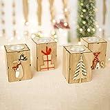 Lagand Kerzenleuchter Mini aushöhlen Holz Kerzenhalter Vintage Weihnachtsdekoration Teelicht Kerzenständer Laterne Party Decor Geschenk Hirsch/Buchstaben/Geschenk Box/Baum