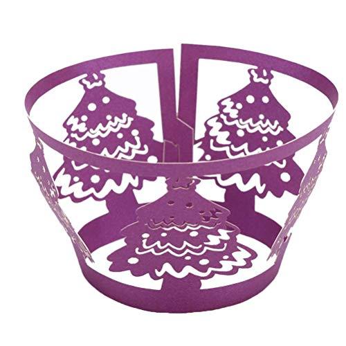 HEALIFTY Geburtstag Cake Topper Dekoration 50 stücke Kuchen Weihnachtsbaum Wrapper Kreative Exquisite Aushöhlen Pappbecher für Zuhause Shop Hochzeit (Dark Purple)