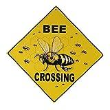 OUNONA Bee CROSSING Neuheit Funny Holz Bee Schild Home Office Garten Deko Schild zum Aufhängen Schild