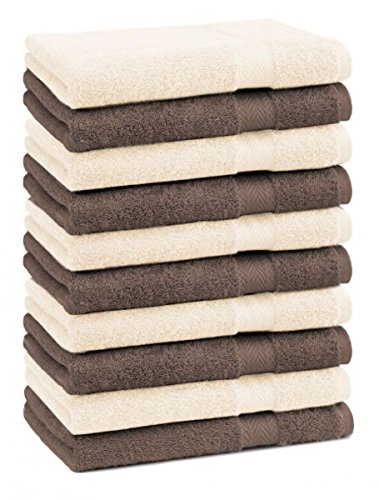 Betz Lot de 10 serviettes débarbouillettes lavettes taille 30x30 cm en 100% coton Premium couleur marron noisette et beige
