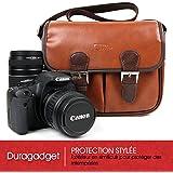 DURAGADGET - Sacoche modulable pour Fujifilm FinePix T500, X-T10, Instax Mini 26, X-A10, XP120, X-T20, Instax Square SQ10 – aspect cuir marron