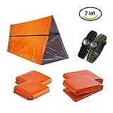 Notfall 7-in-1 Survival Kit für 2 Personen - Outdoor Emergency Set mit 1x Notfallzelt, 2x Notfalldecken, 2x Schlafsack und 2x Paracord Survival Überlebens-Armband | Extra Sichtbare Farbe Orange
