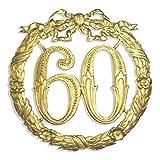 Kunze A014026601 Jubiläumszahl 60, Ø 24 cm, Gold