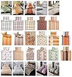 Estella Baumwolle Biber Bettwäsche mit Reißverschluss in verschiedenen Größen und vielen Designs - Estella Biber Bettwäsche 135x200+80x80 cm Zuoz 800-kiesel
