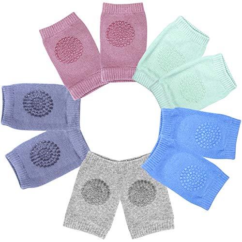 NATUCE 5 Paar Baby Krabbel Knieschoner, Baby-Knieschützer, Elastische Baby-Beinlinge mit Gummipunkten Anti-rutsch für 0-24 Monate