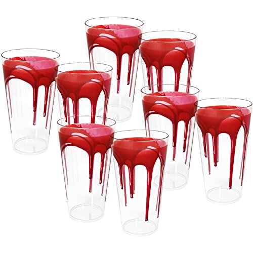 COM-FOUR® 8x Gruselige Halloween Becher mit Blutspur, Trinkbecher als Dekoration auf dem Tisch für Halloween, Fasching, Karneval, 500 ml (08 Stück)