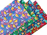 Dinosaurier 4 x Fat Quarter Bundle * 100% Baumwolle Stoff Kinder Kinderzimmer Drucke zum Basteln, Patchen, Quilten, Nähen 45,7 x 71,1 cm