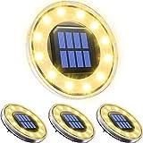 Solarleuchte für Außen 12 LED, Biling Solar Gartenleuchte IP68 Wasserdicht Gartenleuchte Aussenlicht für Garten Außenleuchte zum Boden Gehweg Deck Terrasse Weg Rasen Garten Auffahrt Warmweiß(4 Stück)