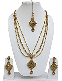Lucky Jewellery Designer Golden Color Alloy Necklace Set For Girls & Women