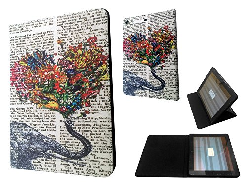 3D Design Für iPad 2 ipad 3 ipad 4 Vintage Newspaper Aztec Elephant Floral Trunk Funky Design Fashion Trend Leder Flip-Cover Brieftasche Hülle pouch Flip Cover Purse Wallet Case (Trunk Floral)