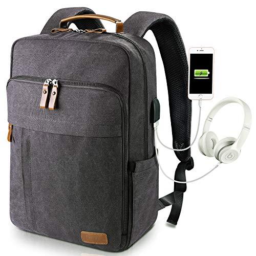 Estarer Laptop Rucksack 17/17,3 Zoll Mit USB-Anschluss für Arbeit Uni Wasserabweisend Canvas Grau