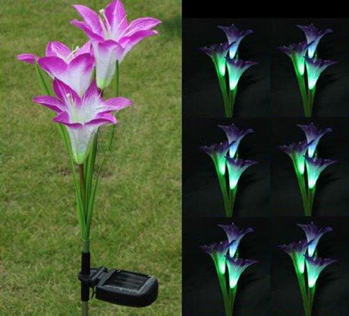 Farbwechsel LED Solar 4 x rote Lilie des Garten-Blumen des Rasen Licht der lampe wasserdicht same Violett