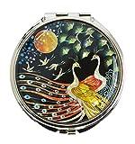 Fancy Taschenspiegel, Mit echter Perlmutt dekoriert, Design mit asiatischen paar von Pfauen - chic Geschenk für Frau