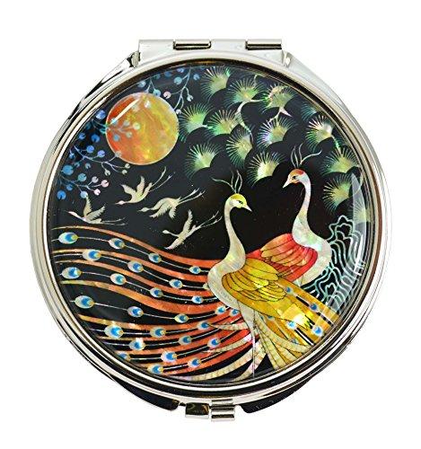 Mykoreangift Miroir de poche fantaisie, décors de nacre avec design asiatique couple de paon, cadeau chic pour femme