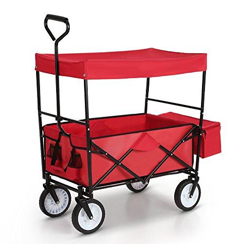 IKAYAA Bollerwagen Handwagen Transportwagen Klappbar mit Dach TC4208 Rot