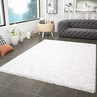 Vimoda Prime Shaggy Weiss Hochflor Langflor Teppiche Modern für Wohnzimmer Schlafzimmer, Maße:200x280 cm Tapis, Polypropylène