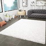 VIMODA Prime Shaggy Teppich Weiss Creme Hochflor Langflor Teppiche Modern für Wohnzimmer Schlafzimmer, Maße:160x220 cm