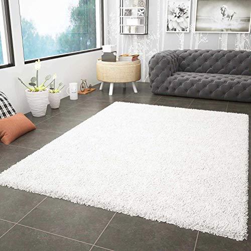 VIMODA Prime Shaggy Weiss Hochflor Langflor Modern für Wohnzimmer Schlafzimmer, Maße:120x170 cm Teppich, Polypropylen, Creme,