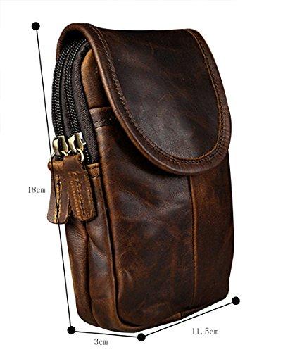Genda 2Archer El bolso de la Cintura del Dinero del Bolso del Vago del Cuero genuino de la Vendimia de los Hombres Junta la Bolsa (11cm * 8cm * 13cm) (Café)